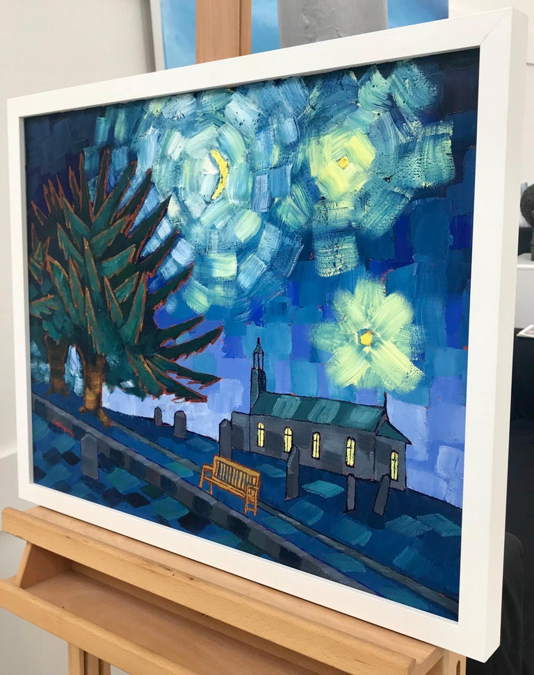Starry Night after Vincent Van Gogh Saint Remy 1889 by Emerging British Artist - Blue Landscape Painting by Anthony D Padgett
