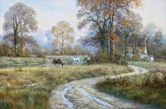 Oil Painting of Rural English Countryside Scene with Horses & Cottage by Stream