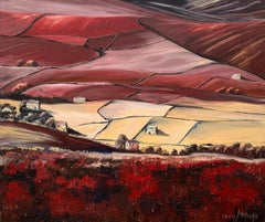 Red Abstract Landscape Oil Painting of the Yorkshire Dales by British Artist