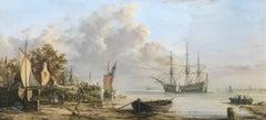 19th Century Dutch Coastal Scene Circa 1820 by British Maritime Realist Artist
