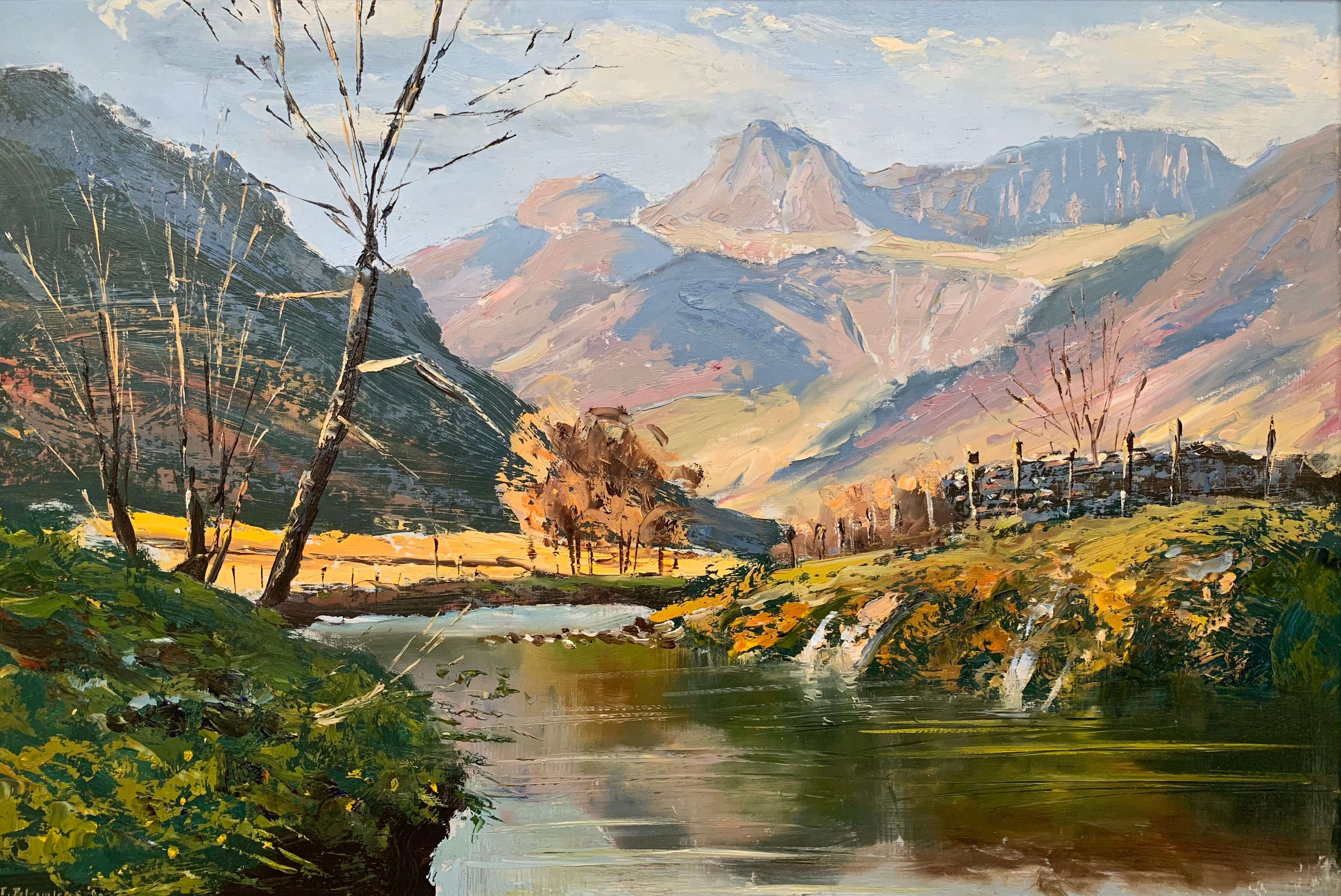 Oil Painting of the Langdale Pikes in English Lake District by British Artist