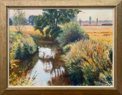 English Summer Stream River Landscape Original Oil Painting by British Artist