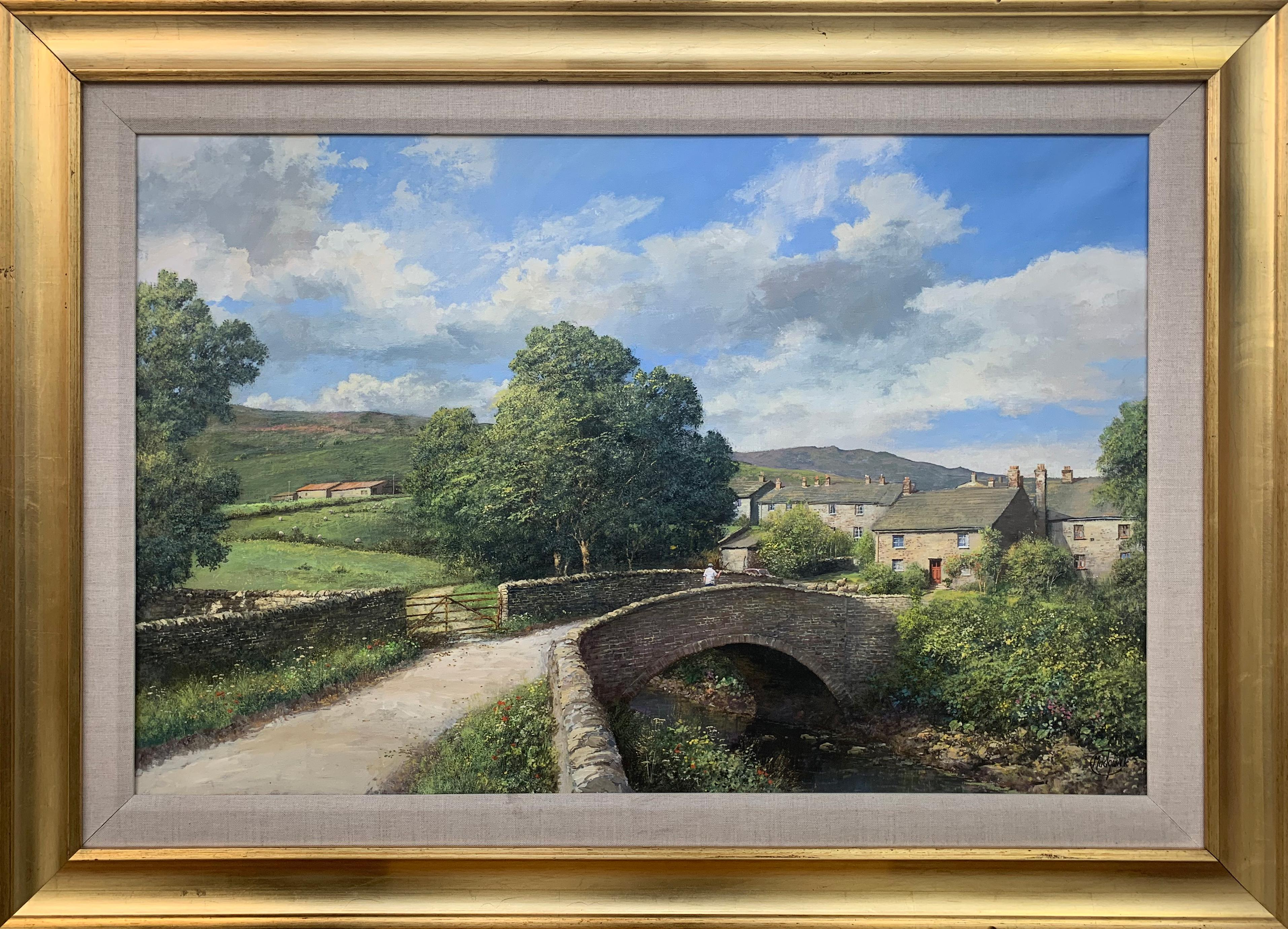 Original Oil Painting of Thwaite Village in Yorkshire Dales England British Art