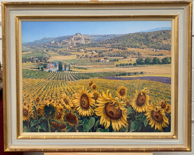 Sunflowers in Bonnieux Provence France Landscape by 20th Century British Artist - Brown Landscape Painting by Lionel Aggett