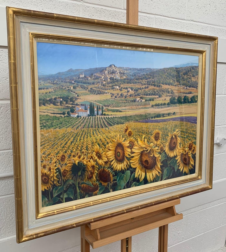 Sunflowers in Bonnieux Provence France Landscape by 20th Century British Artist - Realist Painting by Lionel Aggett