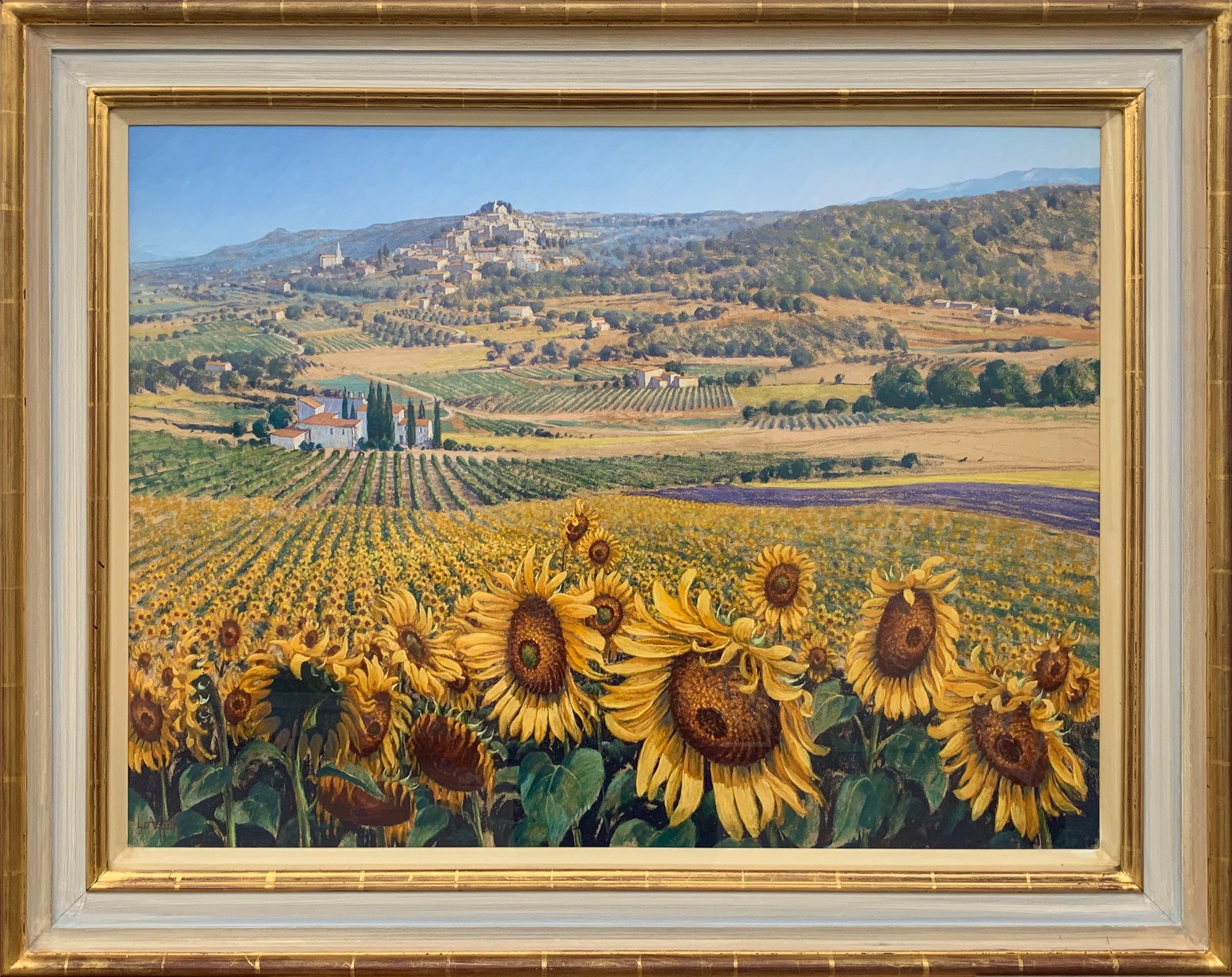 Sunflowers in Bonnieux Provence France Landscape by 20th Century British Artist
