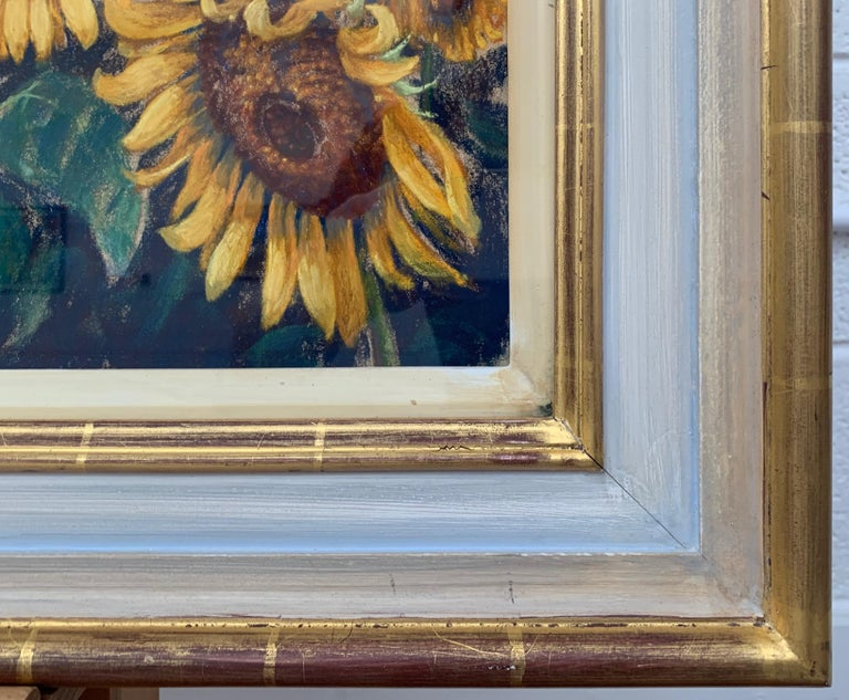 Sunflowers in Bonnieux Provence France Landscape by 20th Century British Artist For Sale 4