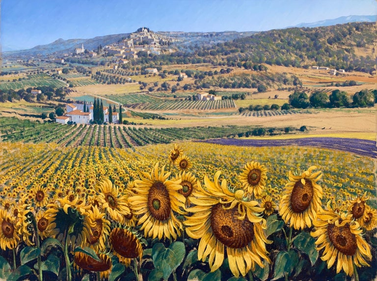 Sunflowers in Bonnieux Provence France Landscape by 20th Century British Artist - Painting by Lionel Aggett