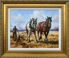 Shire Horses Ploughing Fields with Farmer by Contemporary Irish Artist