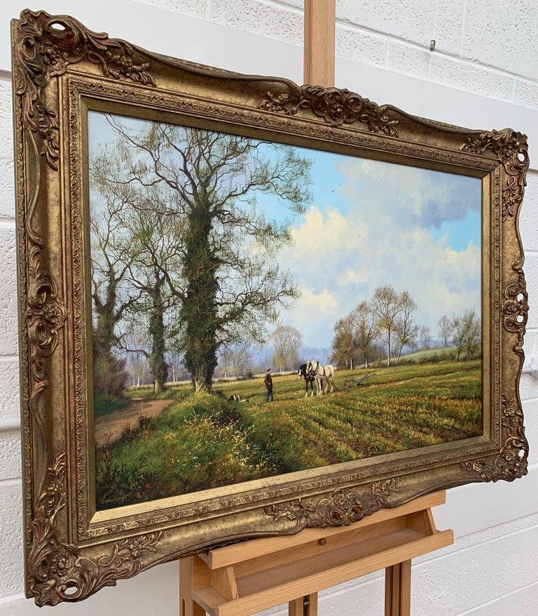 Oil Painting of the English Countryside with Horses by Modern British Artist - Brown Animal Painting by James Wright
