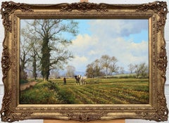 Oil Painting of the English Countryside with Horses by Modern British Artist