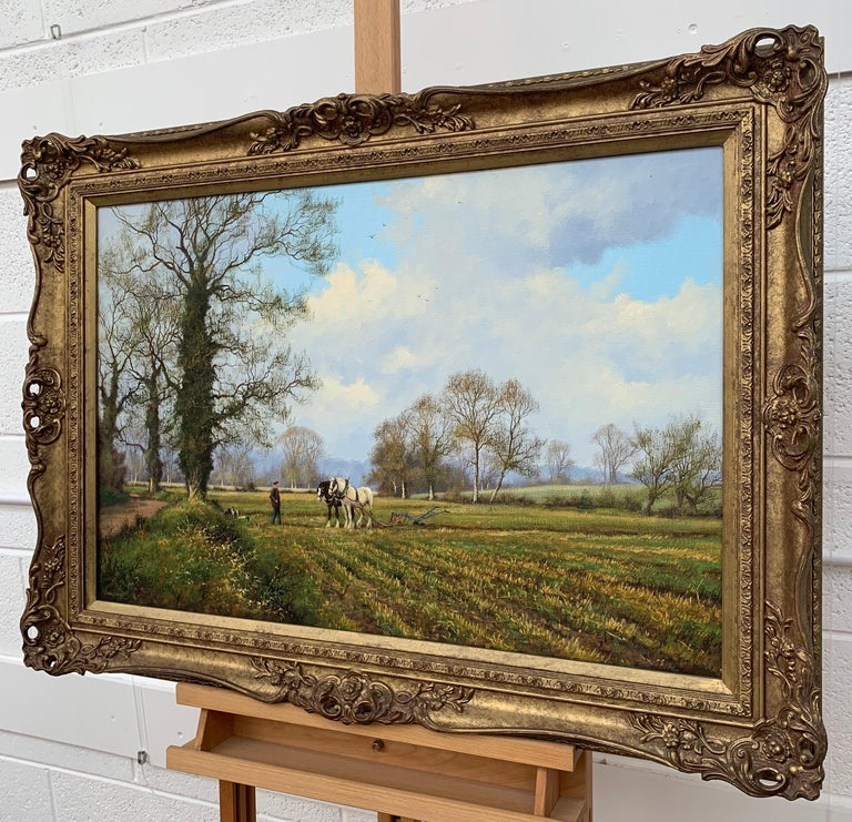 Oil Painting of the English Countryside with Horses by Modern British Artist For Sale 1