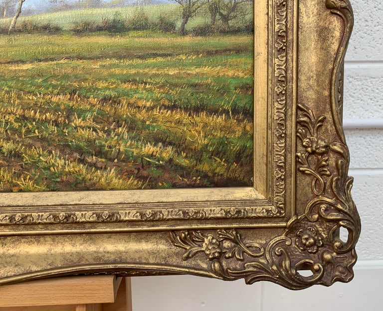 Oil Painting of the English Countryside with Horses by Modern British Artist For Sale 3