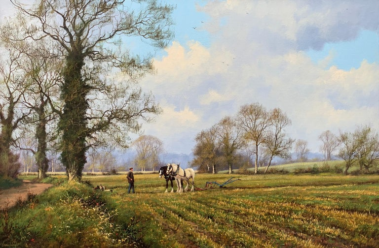 Oil Painting of the English Countryside with Horses by Modern British Artist For Sale 7