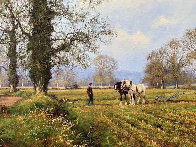Oil Painting of the English Countryside with Horses by Modern British Artist For Sale 8