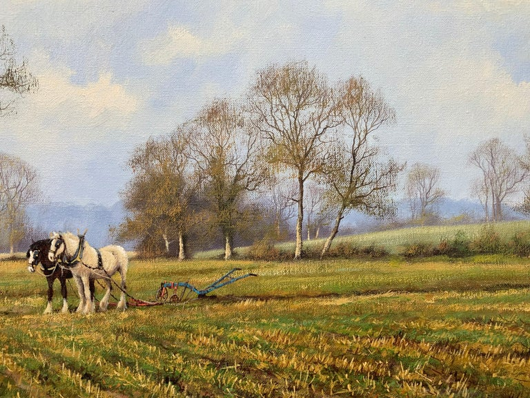 Oil Painting of the English Countryside with Horses by Modern British Artist For Sale 9