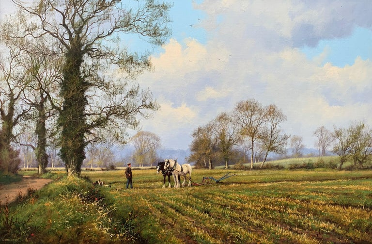 Oil Painting of the English Countryside with Horses by Modern British Artist For Sale 10