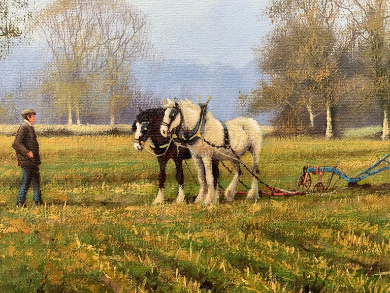 Oil Painting of the English Countryside with Horses by Modern British Artist For Sale 12