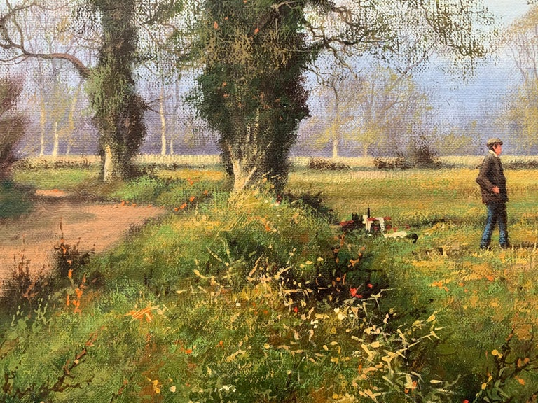 Oil Painting of the English Countryside with Horses by Modern British Artist For Sale 13