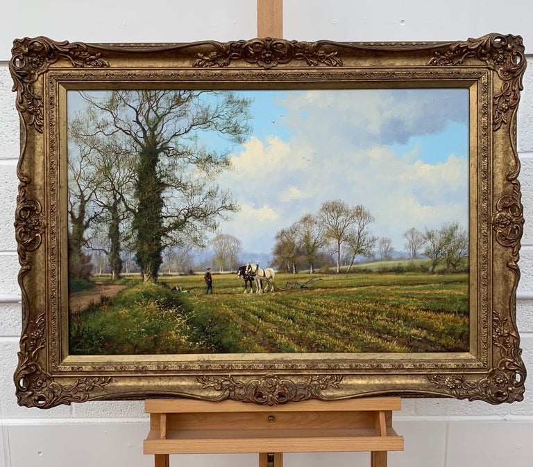 Traditional Oil Painting of the English Countryside with Horses by Modern British Artist  Art measures 30 x 20 inches Frame measures 36 x 26 inches   James Wright was born in Peterborough in 1935 and now lives in Lincolnshire. James is a self-taught