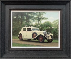 Oil Painting of Classic 1950's Rolls Royce Bentley in the English Countryside