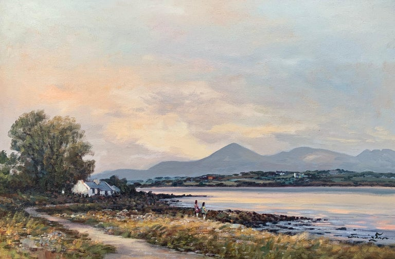 Oil Painting of Murlough Bay with the Mourne Mountains in the Distance Ireland - Brown Figurative Painting by William Cunningham