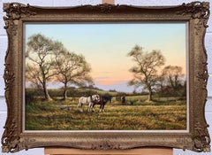 Horse Drawn Plough with Two Horses Ploughman and Dog by British Landscape Artist