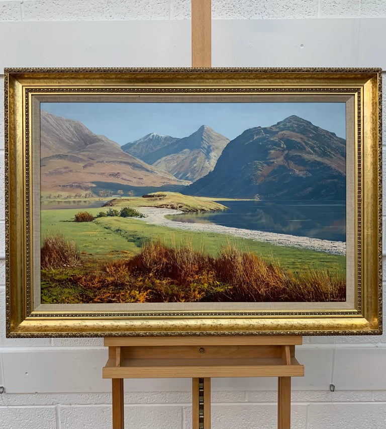 Crummock Water in the English Lake District by Modern British Landscape Artist - Realist Painting by Arthur Terry Blamires