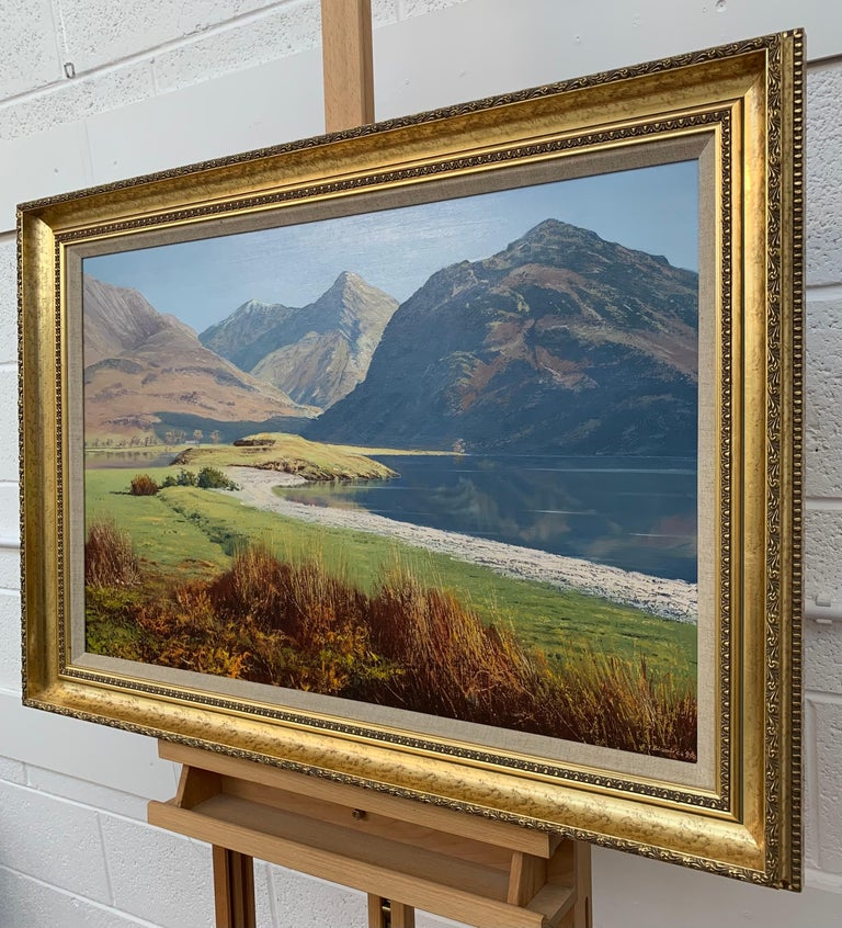 Crummock Water in the English Lake District by Modern British Landscape Artist - Brown Landscape Painting by Arthur Terry Blamires