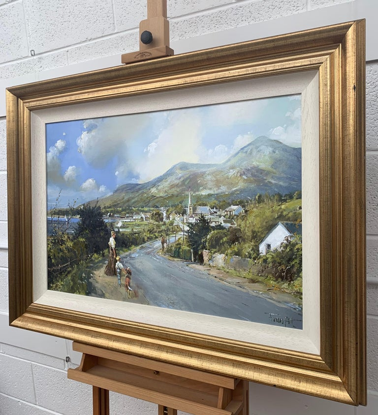 The Road to Dundrum Northern Ireland by Modern Irish Landscape Artist - Gray Landscape Painting by Frank Fitzsimons