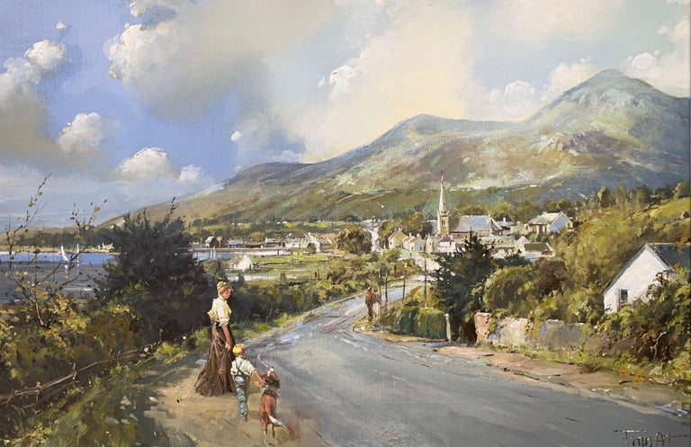 The Road to Dundrum Northern Ireland by Modern Irish Landscape Artist  Art measures 30 x 20 inches Frame measure 36 x 26 inches