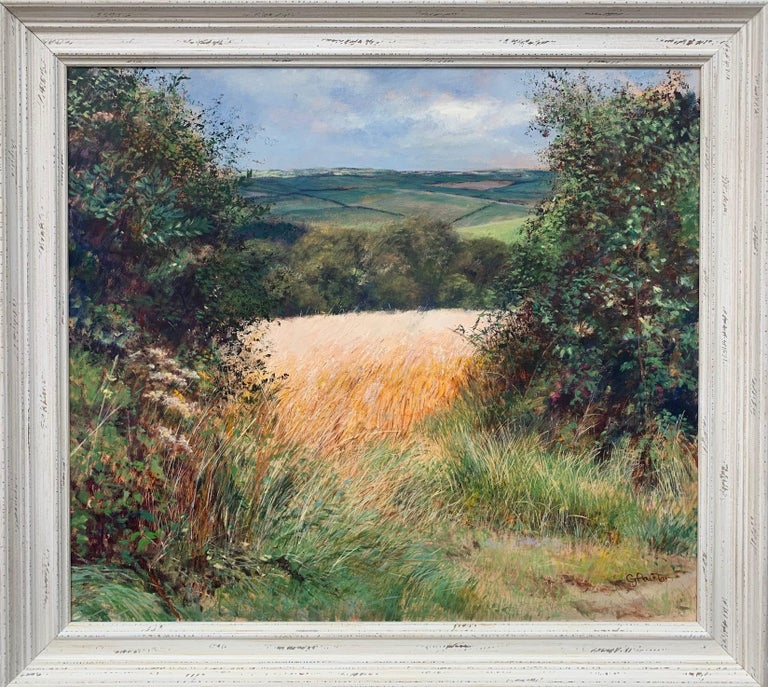 Graham Painter Animal Painting - English Summer Hedgerow & Field Landscape Oil Painting by Modern British Artist