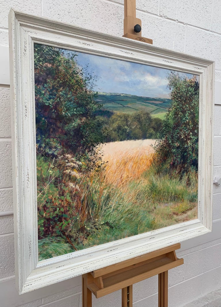 English Summer Hedgerow & Field Landscape Oil Painting by Modern British Artist - Gray Animal Painting by Graham Painter