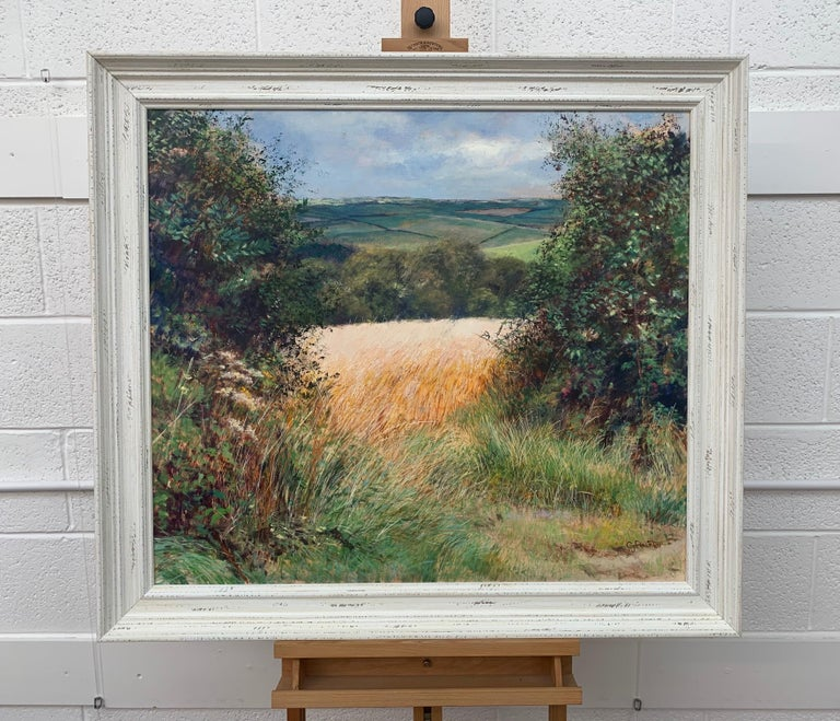 English Summer Hedgerow & Field Landscape an Original Oil Painting by Modern Artist Graham Painter (British 20th Century, 1947-2007) Oil on Canvas, framed in a large off-white high quality shabby chic moulding.  Art measures 34 x 30 inches Frame