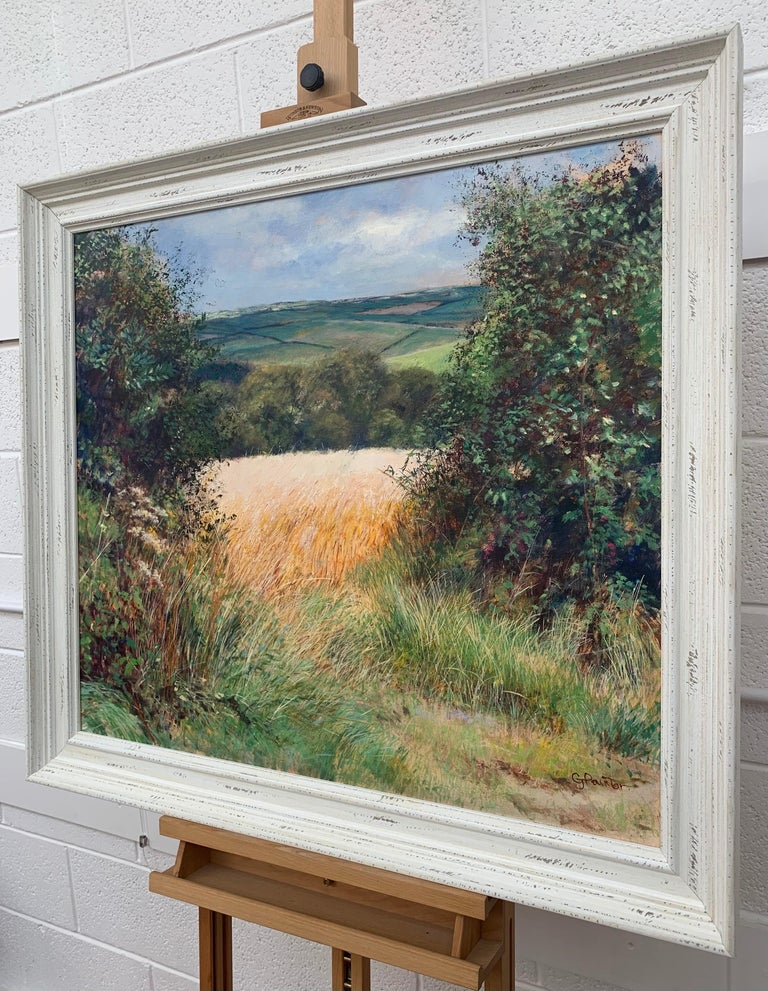 English Summer Hedgerow & Field Landscape Oil Painting by Modern British Artist For Sale 1
