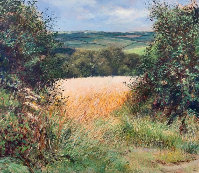 English Summer Hedgerow & Field Landscape Oil Painting by Modern British Artist For Sale 2