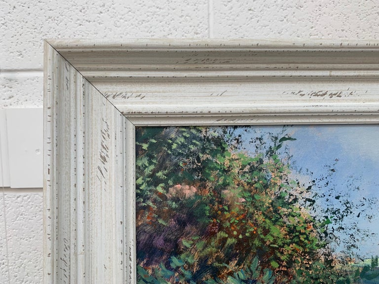 English Summer Hedgerow & Field Landscape Oil Painting by Modern British Artist For Sale 4