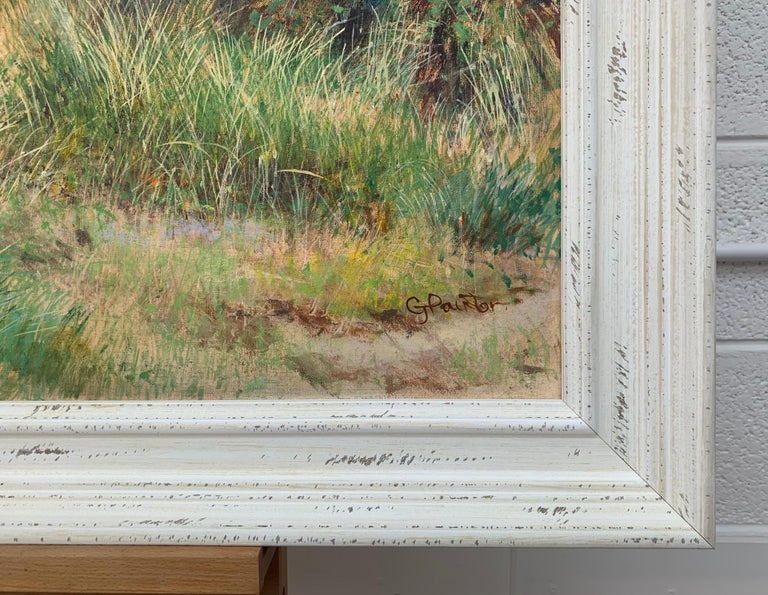 English Summer Hedgerow & Field Landscape Oil Painting by Modern British Artist For Sale 3