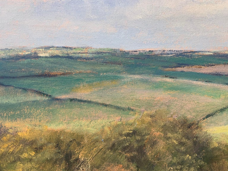 English Summer Hedgerow & Field Landscape Oil Painting by Modern British Artist For Sale 7