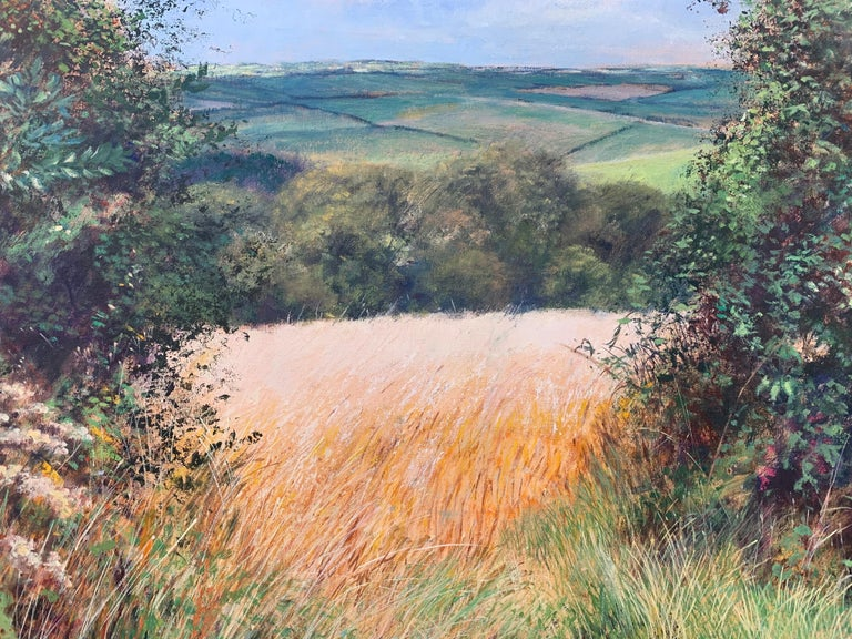 English Summer Hedgerow & Field Landscape Oil Painting by Modern British Artist For Sale 10