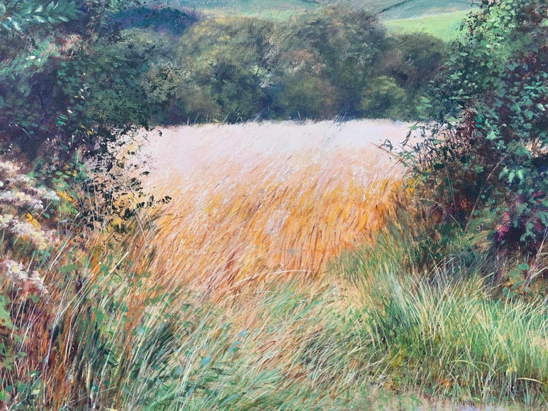 English Summer Hedgerow & Field Landscape Oil Painting by Modern British Artist For Sale 11