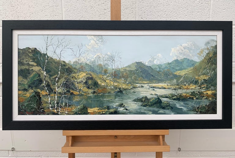 Welsh Landscape with Mountains & Lake Impasto Oil Painting by British Artist Charles Wyatt Warren (1908-1993)  Art measures 36 x 15 inches Frame measures 40 x 19 inches