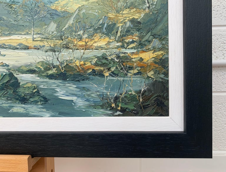 Welsh Landscape with Mountains & Lake Impasto Oil Painting by British Artist For Sale 5