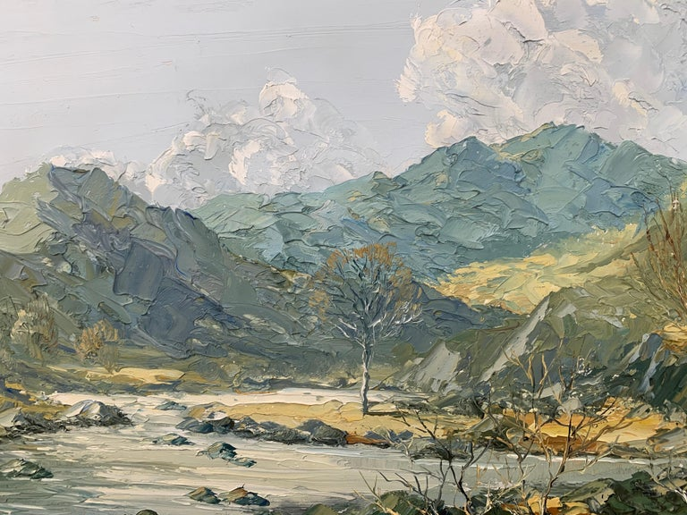 Welsh Landscape with Mountains & Lake Impasto Oil Painting by British Artist For Sale 9