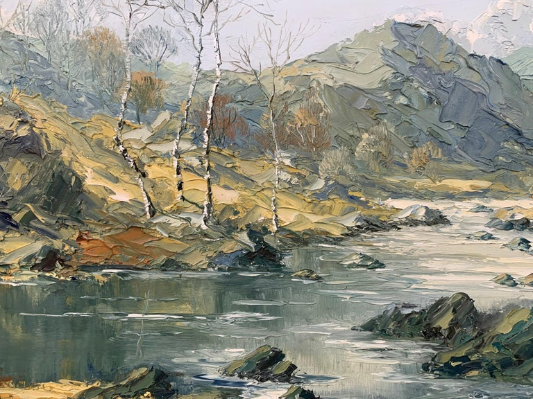 Welsh Landscape with Mountains & Lake Impasto Oil Painting by British Artist For Sale 10