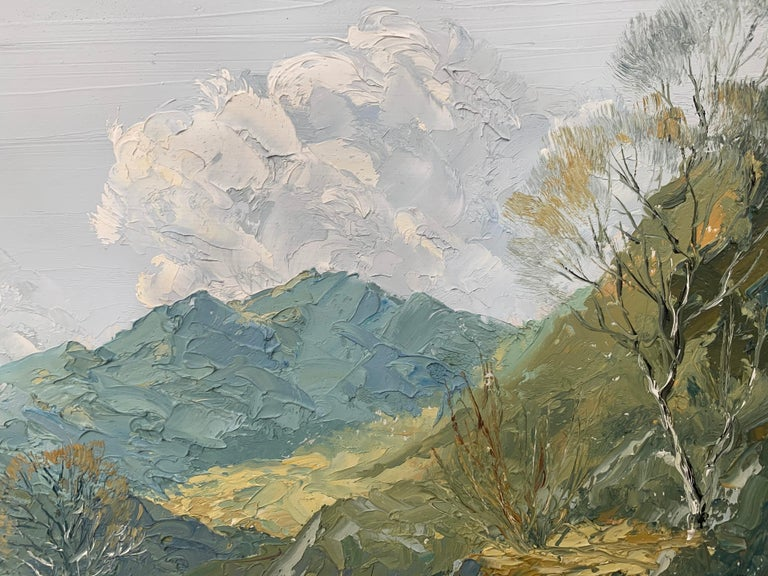 Welsh Landscape with Mountains & Lake Impasto Oil Painting by British Artist For Sale 11