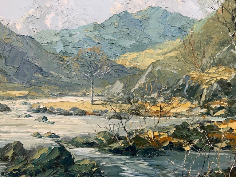 Welsh Landscape with Mountains & Lake Impasto Oil Painting by British Artist For Sale 12