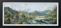Welsh Landscape with Mountains & Lake Impasto Oil Painting by British Artist