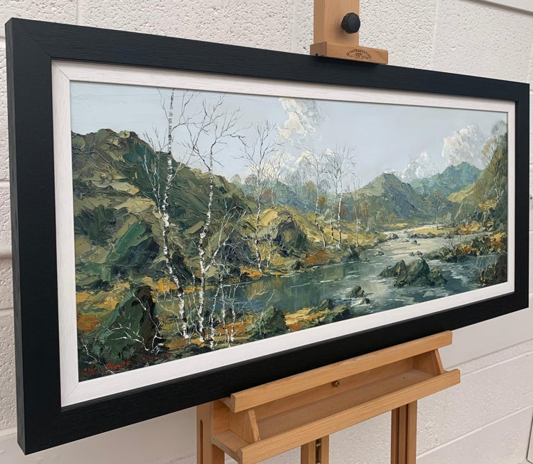 Welsh Landscape with Mountains & Lake Impasto Oil Painting by British Artist - Modern Mixed Media Art by Charles Wyatt Warren