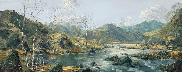 Welsh Landscape with Mountains & Lake Impasto Oil Painting by British Artist For Sale 2